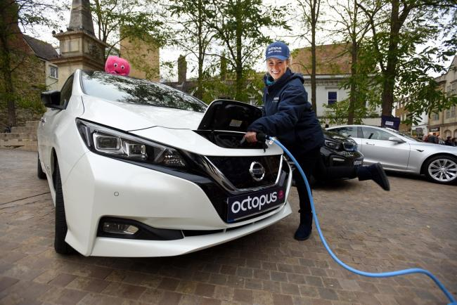 The electric vehicle specialist, Octopus Electric Vehicles, present The Electric Vehicle Discovery Experience at Bonn Square, Oxford ..Dinara Mukhametianova with Nissan Leaf... Picture Richard Cave   27.10.18.