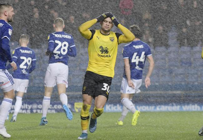 Marcus Browne reacts after shooting just wide for Oxford United in the first half against Ipswich Town  Picture: David Fleming
