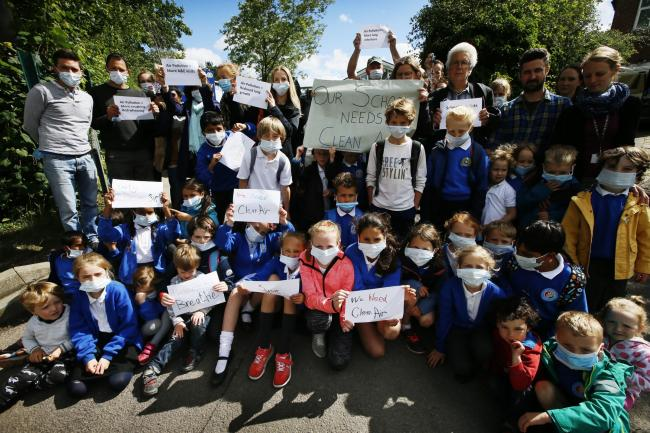 Pictured in 2017 - North Hinksey Primary School raising concerns about air pollution. Picture by Ed Nix