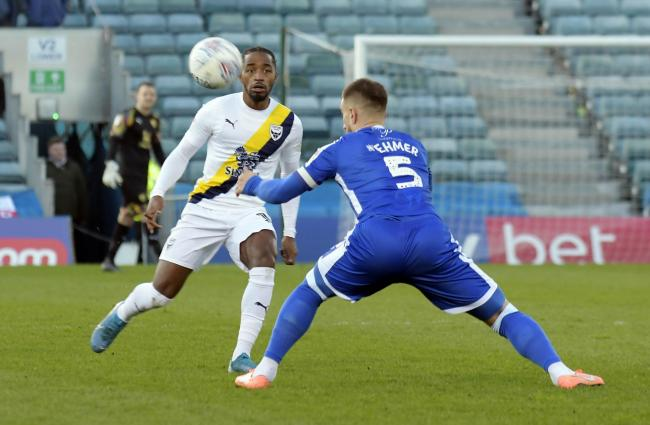 Tariqe Fosu, who opened the scoring for Oxford United, looks forward against Gillingham   Picture: David Fleming