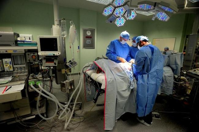 A hip replacement operation