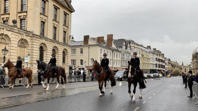 Horses at the funeral of PC Andrew Harper. Pic from Thames Valley Police