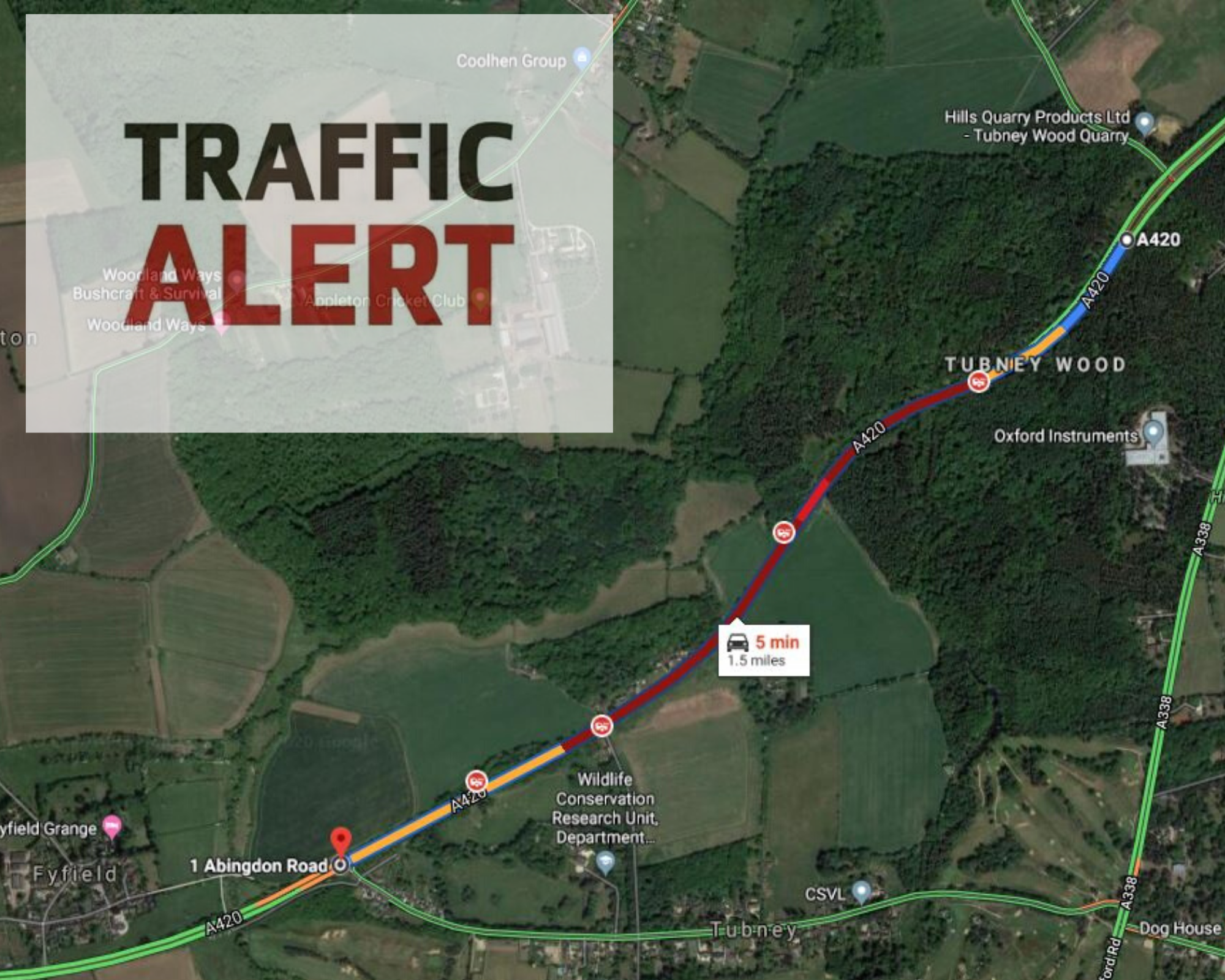 Traffic on A420 due to breakdown