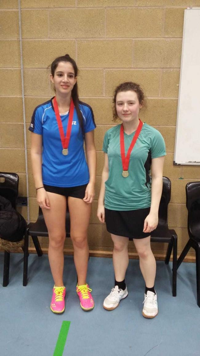 Rebecca Norkett (left) and Jess Street after winning gold at the Northamptonshire Under 17 competition Picture: Rob Wakefield