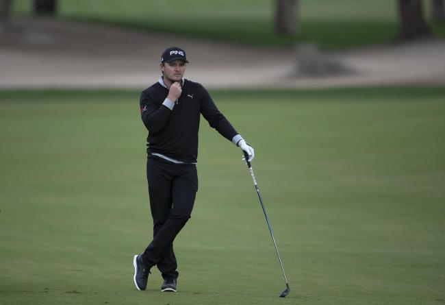Eddie Pepperell at the 10th hole during his second round in Dubai Picture: AP/Kamran Jebreili
