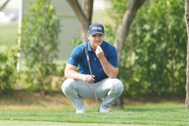 Eddie Pepperell during his fourth round at the Omega Dubai Desert Classic Picture: Andy Crook