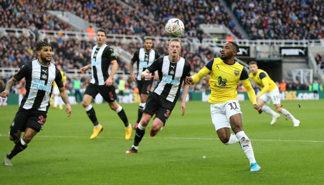 Tariqe Fosu on the attack for Oxford United in the goalless draw at Newcastle United  Picture: Richard Parkes