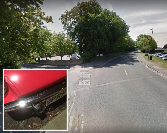 Bridge Street (Google Maps); inset, some of the damage caused