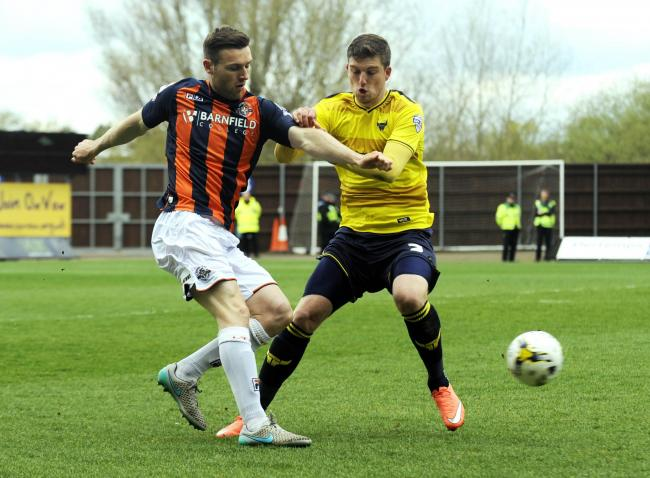 Stephen O'Donnell (left) in action against Oxford United in 2016 during his spell at Luton Town  Picture: David Fleming