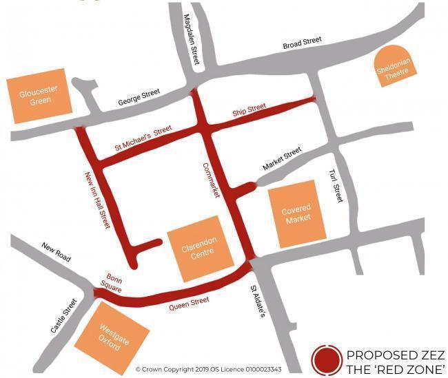 The streets where fossil fuel vehicles will have to pay to enter are highlighted in red. Picture Oxford City Council.