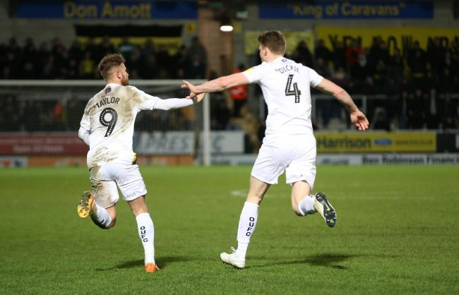 Matty Taylor (left) is congratulated by Rob Dickie after scoring Oxford United's late equaliser   Picture: Richard Parkes