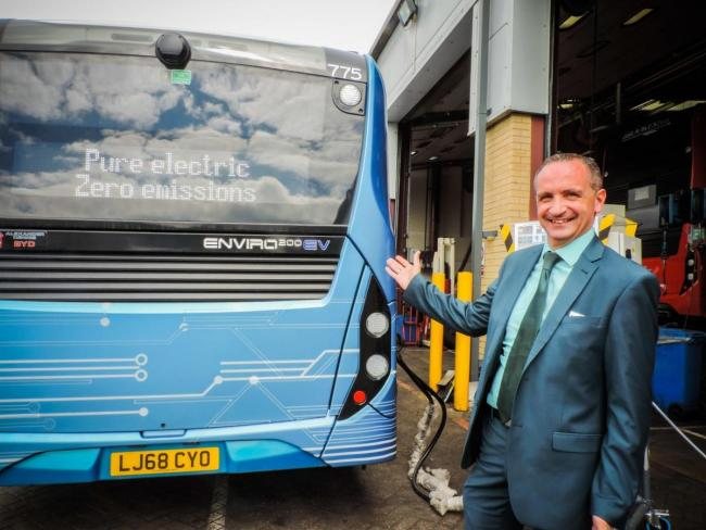 Oxford Bus Company director Phil Southall with an electric bus being trialled last year Picture Oxford Bus Company