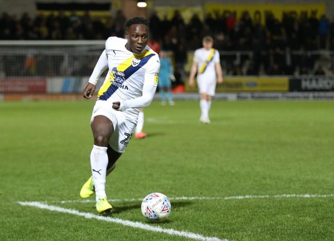 Dan Agyei on the attack for Oxford United at Burton Albion on Tuesday night   Picture: Richard Parkes