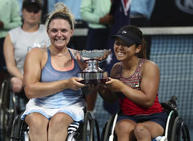 Jordanne Whiley, left, with Yui Kamiji in Australia Picture: AP/Dita Alangkara