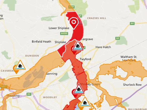 Oxford Mail: Flood warning map for Shiplake. Picture: EA