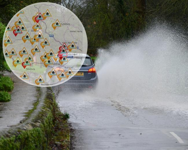 File photo of flooding in Islip. Inset: The EA map of Oxfordshire flood alerts