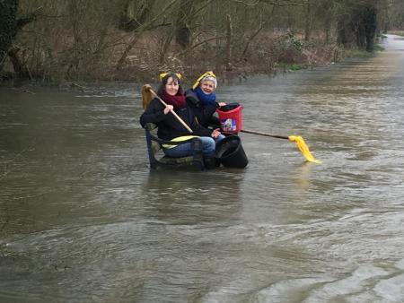 Extinction Rebellion activists 'mopping up' floods in Oxford. Picture: XR Oxford/ Alice Taylor