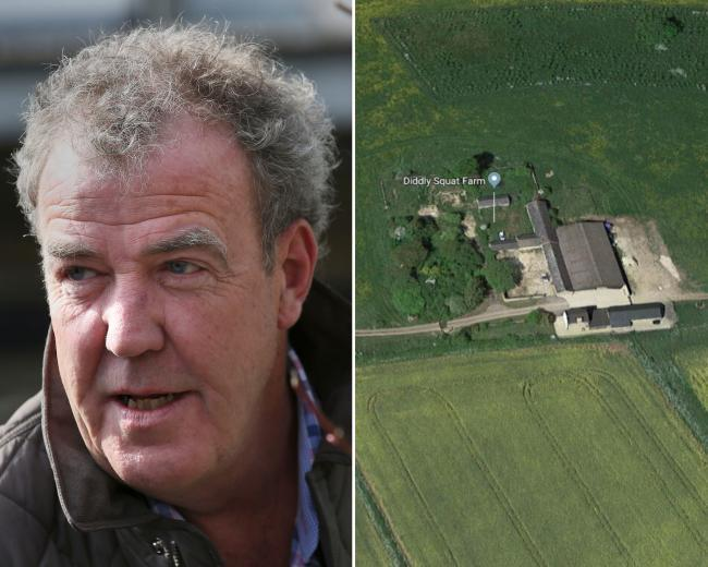 Jeremy Clarkson (Pic: PA); aerial view of the farm (Google Maps)