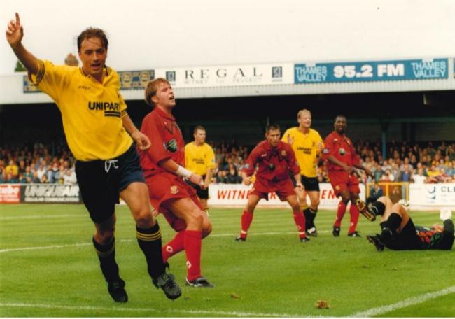 Nigel Jemson wheels away after scoring for Oxford United against Southend United