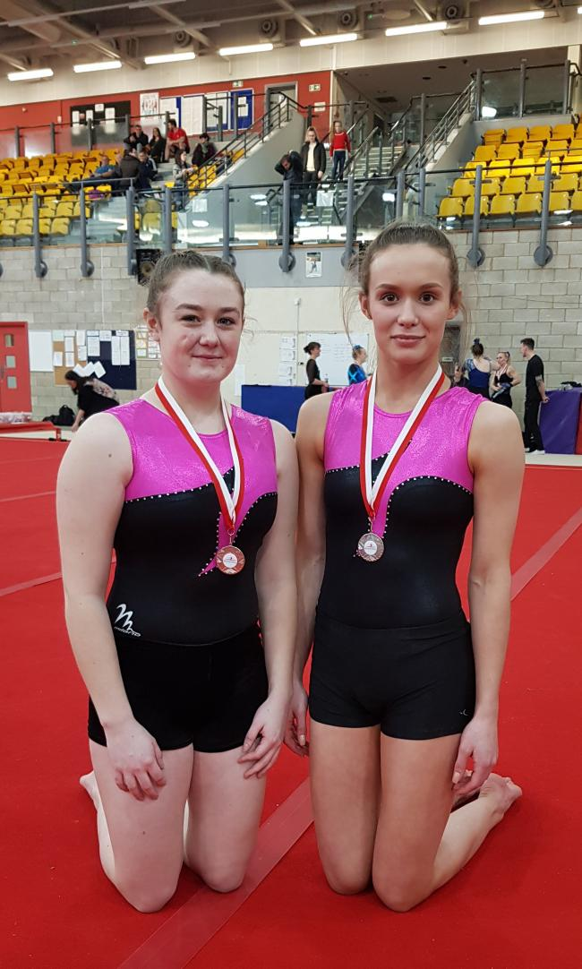 Carterton Gymnastics Club's Rebecca Rigby (left) and Molly Mullins Picture: Annette Allmark