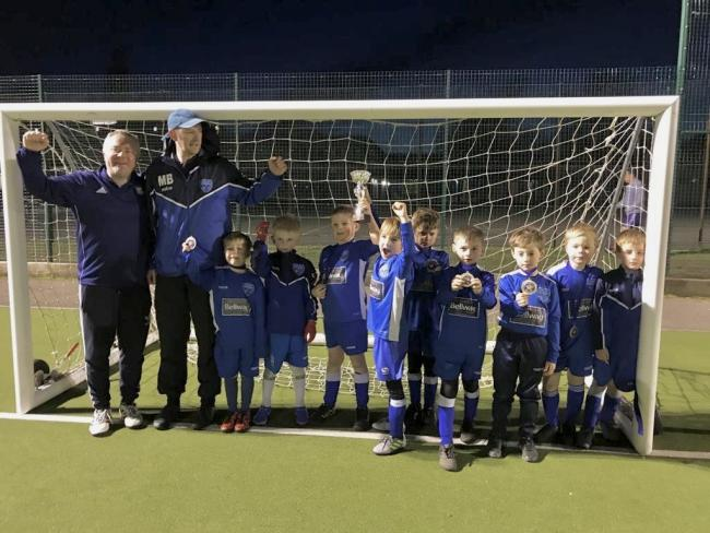 Cholsey Bluebirds Under 7s Blue (left to right): Jon Swindell (manager), Mark Brock (manager), Daniel Crichton, Charlie Allum, George Doughty, Devon Hansen, Noah Davis, Jude Chaffey, Zachary Robinson, Liam Swindell and Bobby Brock     Picture: Jon Swindel