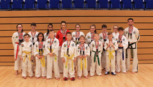 Vale TKD at the English Championships 2020. Left to right: Lilly Bunting, Elliot Gradwell, Sami Grimes, Freya Zywko, Aisha Macey, Ollie Markieuicz, Vic Davis, Jack Bowler, Natasha Turner, Jack Raven, Lilly Emptage, Harry Bevan, Max Rhodes, Jacob Harper, M