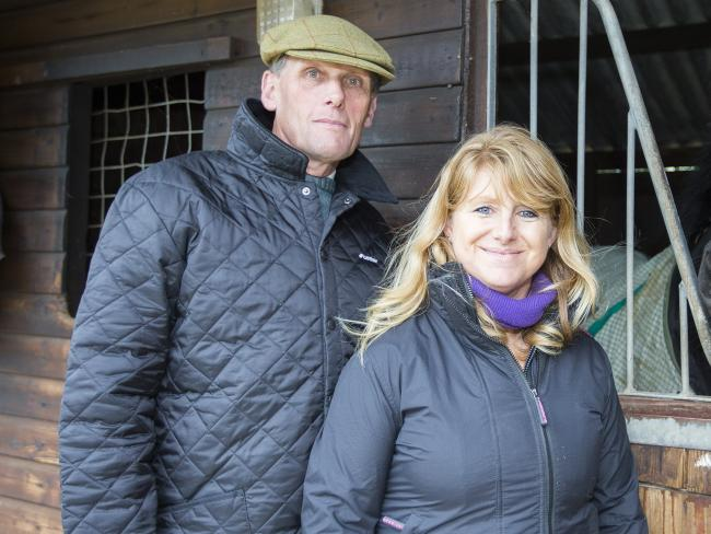 Trainers Alan and Lawney Hill at their Aston Rowant stables