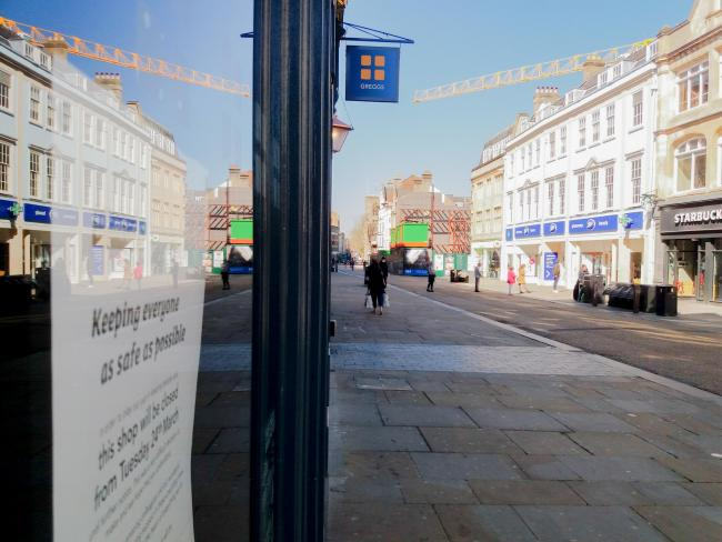 Greggs bakery in Cornmarket Street, Oxford, closed during lockdown. Picture: Pete Hughes