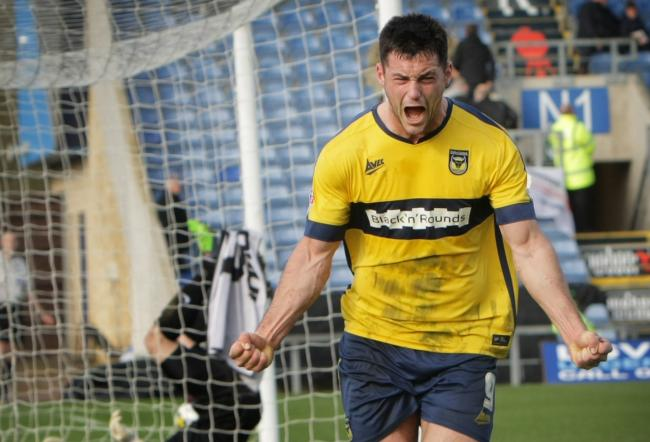 Patrick Hoban celebrates scoring his first goal for Oxford United, against Carlisle United in 2015   Pictures: David Fleming