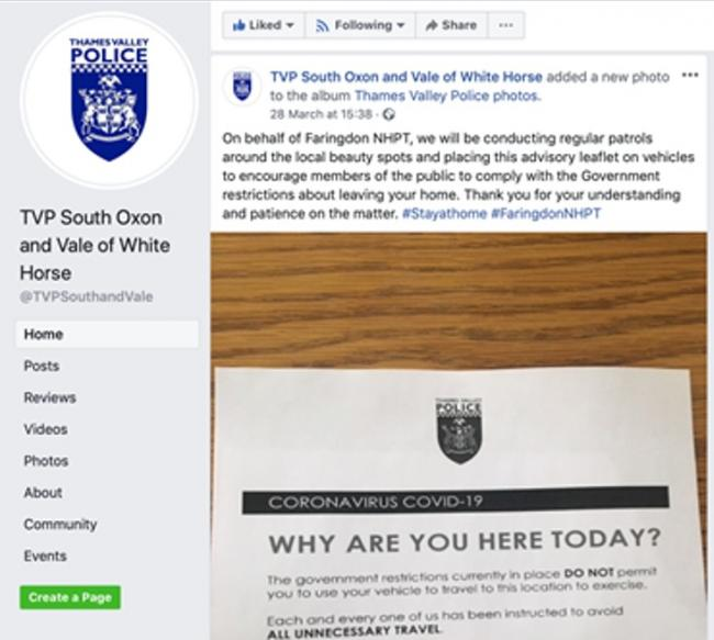 The now deleted Facebook post on the Vale of White Horse and South Oxon Facebook page