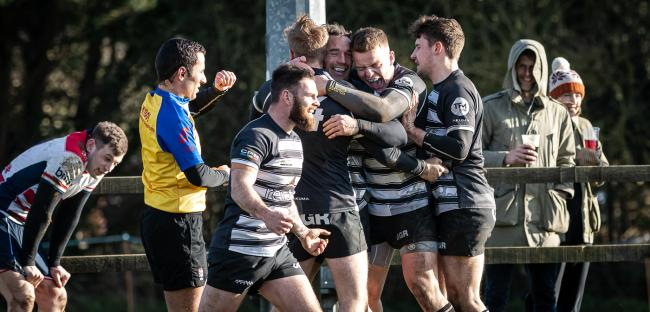 Chinnor celebrate after Jason Worrall scores their second try against Rosslyn Park before the season was called off   Picture: David Howlett
