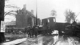 Wantage Tramway locomotive No 5 came to grief near Elms Road in January 1936