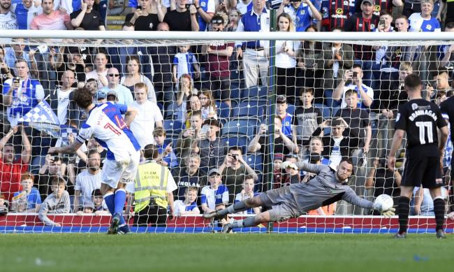 Simon Eastwood saves Charlie Mulgrew's penalty at Ewood Park   Pictures: David Fleming
