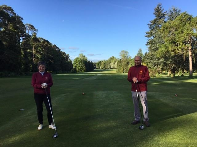 The first to tee off at Burford this morning were captains Julie Talbot and David Bell