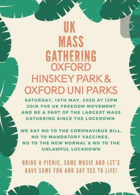 Mass Gatherings Planned In Oxford To Protest Coronavirus Lockdown Oxford Mail