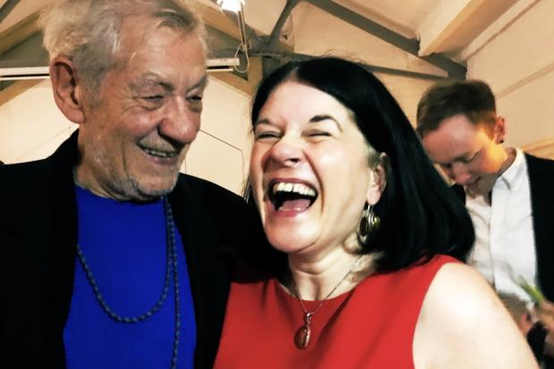 Louise Chantal, with Sir Ian McKellen at Oxford Playhouse. Pic by Tim Hughes
