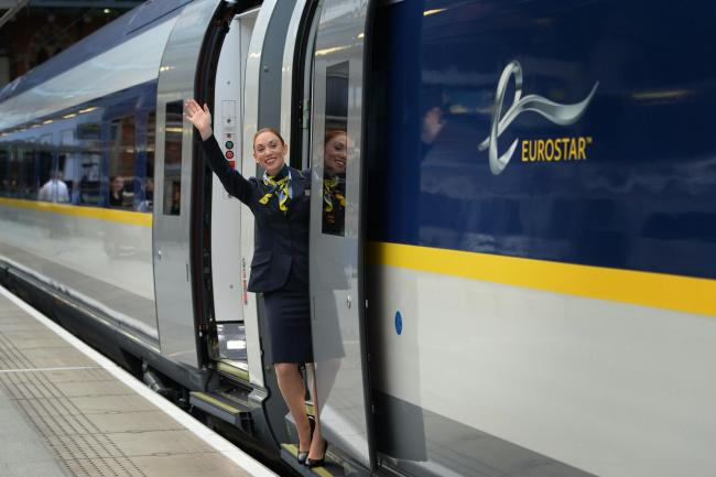 Eurostar train and worker