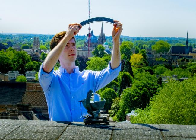 Oxford University doctoral student Thomas Caton Harrison measures sunlight at the Radcliffe Meterological Station at Green Templeton College. Picture: Oxford Univeristy Environmental Change Institute