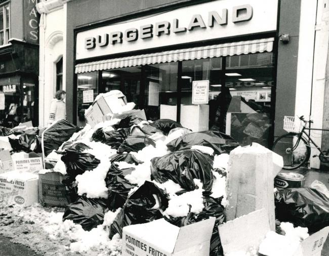 A mountain of rubbish in Cornmarket Street, Oxford, in January 1979 after a strike by city binemen.