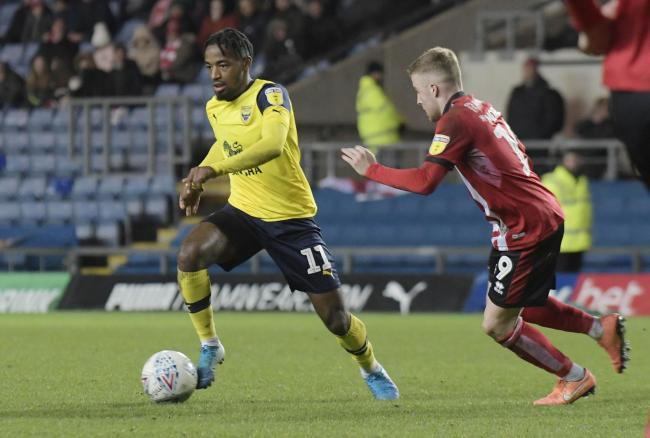 Oxford United's Tariqe Fosu in action against Lincoln City on Boxing Day Picture: David Fleming