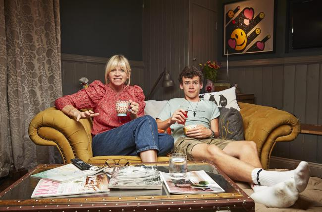 Celebrity Gogglebox: Radio 2 presenter Zoe Ball and her son Woody Cook. Picture: Channel 4/Gogglebox