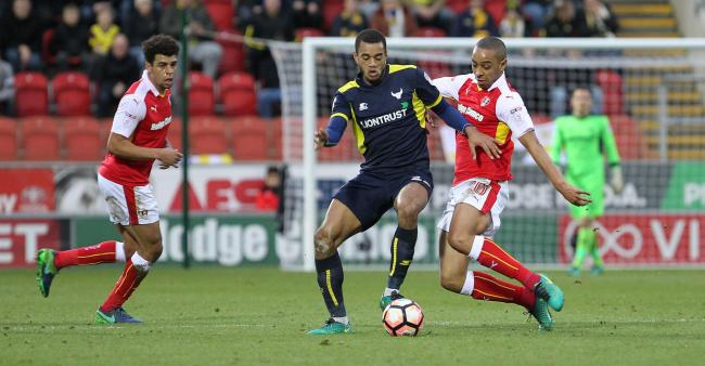 Dexter Blackstock (right) in action against Oxford United Picture: Richard Parkes