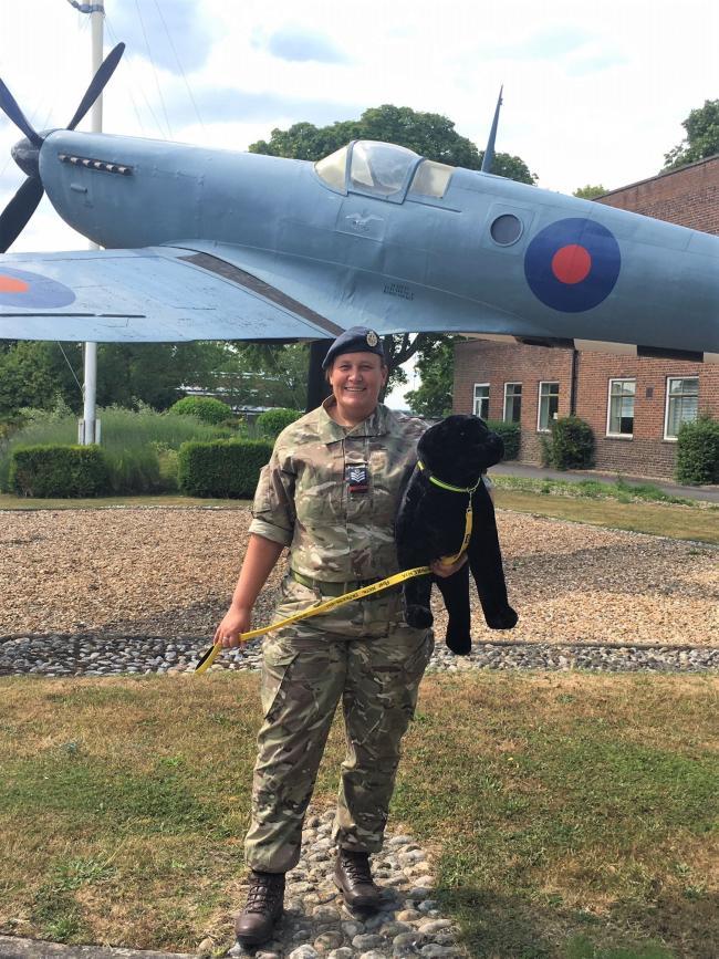 RAF Benson mental health campaign, Tracy                       Barrow and big black dog