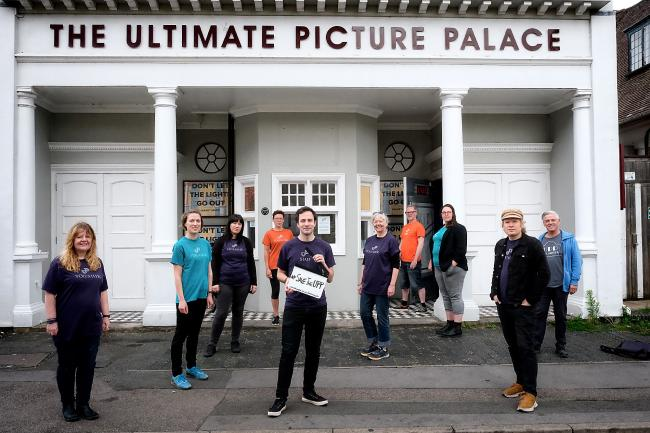 Tom Jowett (front centre) with staff and volunteers from the Ultimate Picture Palace which launched a crowdfunding appeal to save the independent cinema from going out of business.Picture: Ric Mellis.30/6/2020.