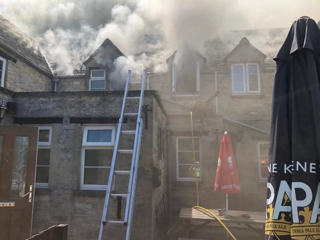 The fire at the Crawley Inn, Witney. Picture: Oxfordshire Fire and Rescue Service