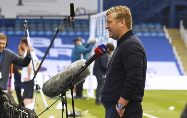 Karl Robinson talks to Sky Sports at Fratton Park Picture: David Fleming
