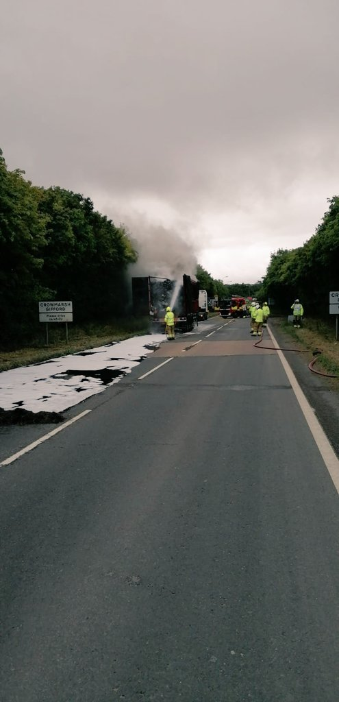 Lorry bursts into flames