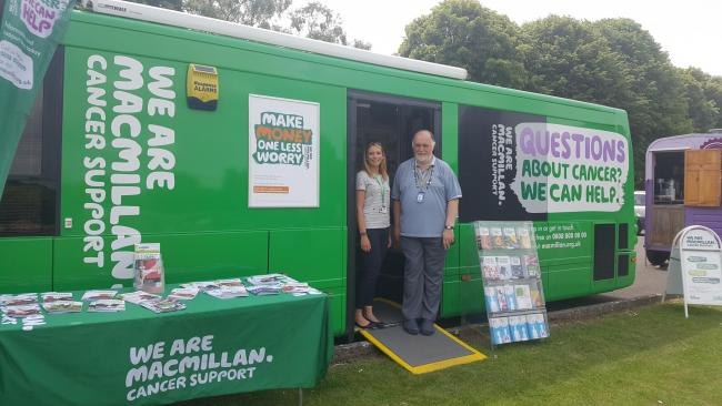 Abingdon volunteer Stephen Crothers at the Macmillan bus, which is staffed by experienced support specialists