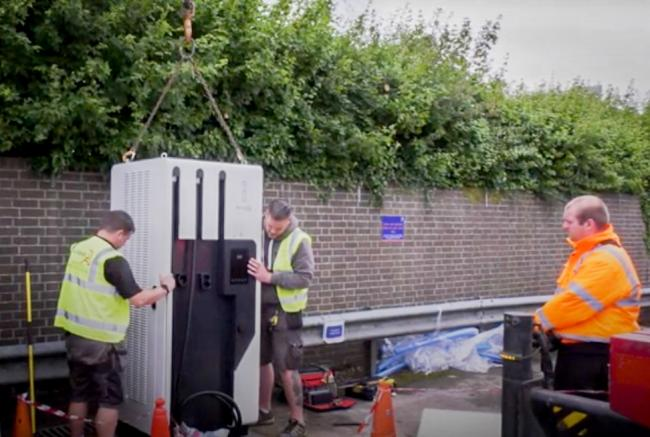 New electric vehicle charging points being installed at Oxford Direct Services. Picture: Oxford City Council
