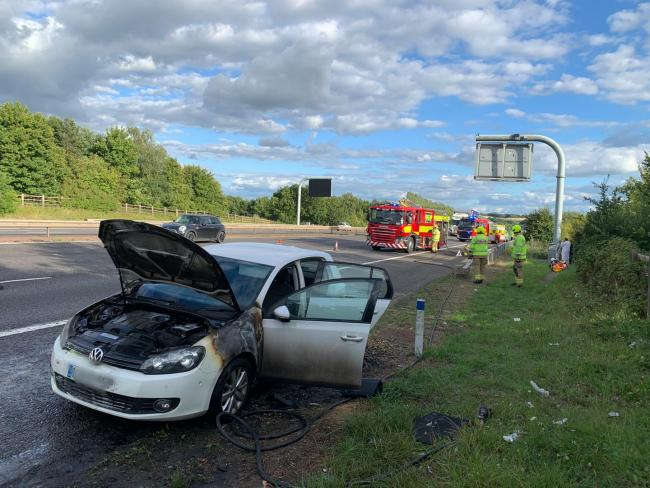 Car bursts into flames on M40